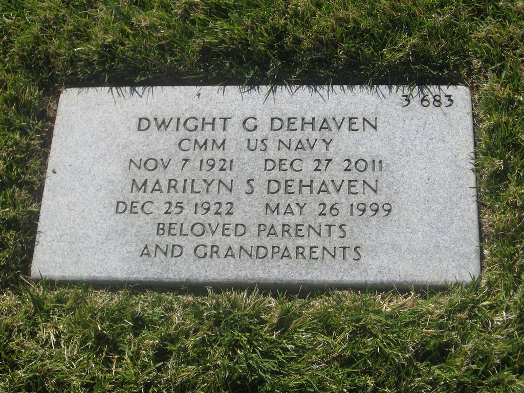 Dwight G. and Marilyn (Smithwick) DeHaven - gravestone